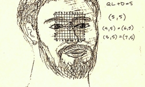 Gabriel Mitchell- Self-Portrait with Grid-2